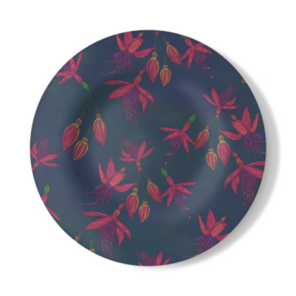 Fabulously Fuchsias (Dark) Decorative Plate