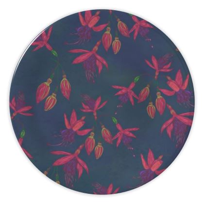 Fabulously Fuchsias (Dark) China Plates