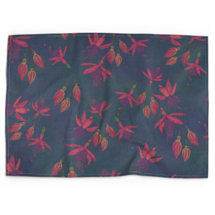 Fabulously Fuchsias (Dark) Tea Towel