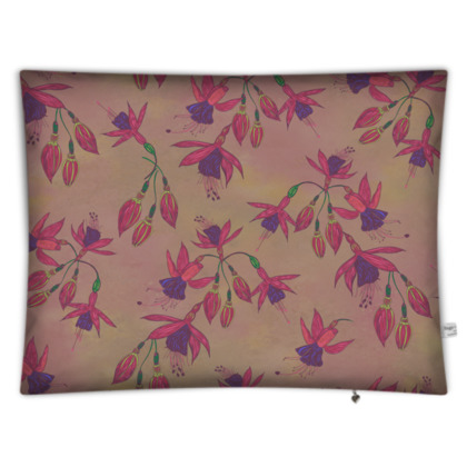 Fabulously Fuchsias (Natural) Rectangular Floor Cushion
