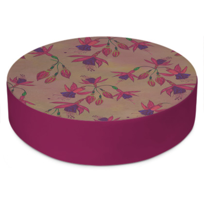 Fabulously Fuchsias (Natural) Round Floor Cushion