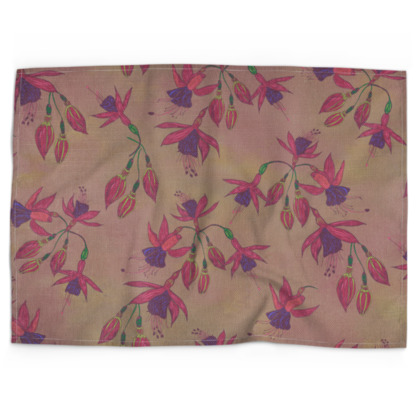 Fabulously Fuchsias (Natural) Tea Towel