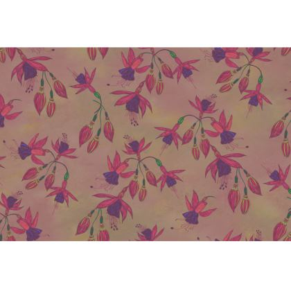 Fabulously Fuchsias (Natural) Fabric Placemat