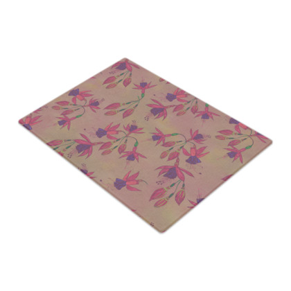 Fabulously Fuchsias (Natural) Glass Chopping Board