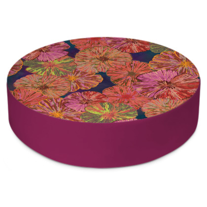 Perfect Poppy Pirouettes (Blue) Round Floor Cushion