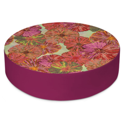 Perfect Poppy Pirouettes (Pale Green) Round Floor Cushion