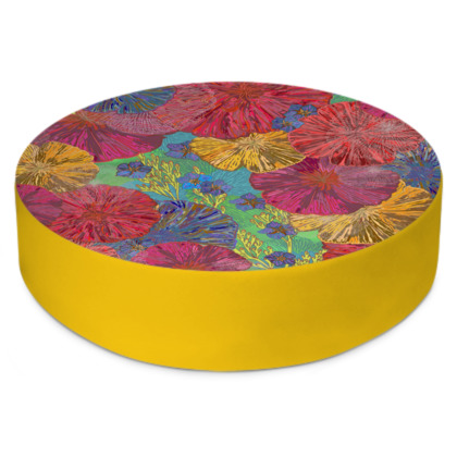 The Parting of the Poppies Round Floor Cushion