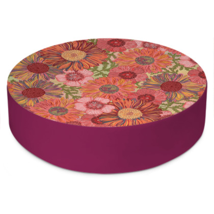 A Daisy Day (Summer Pink) Round Floor Cushion