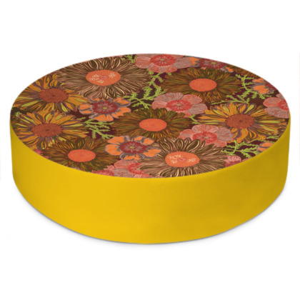 A Daisy Day (Autumn Orange) Round Floor Cushion