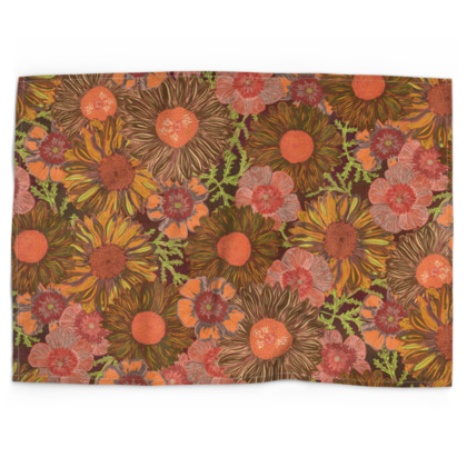 A Daisy Day (Autumn Orange) Tea Towel