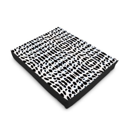Black and White Oval  Print Dog Pet Bed