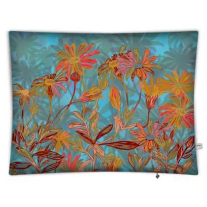 Fantasy Fall Flowers Rectangular Floor Cushion