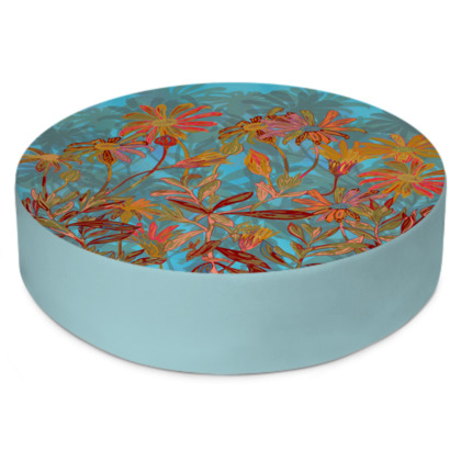 Fantasy Fall Flowers Round Floor Cushion