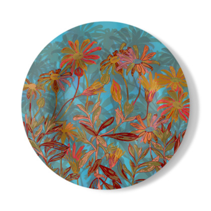 Fantasy Fall Flowers Decorative Plate