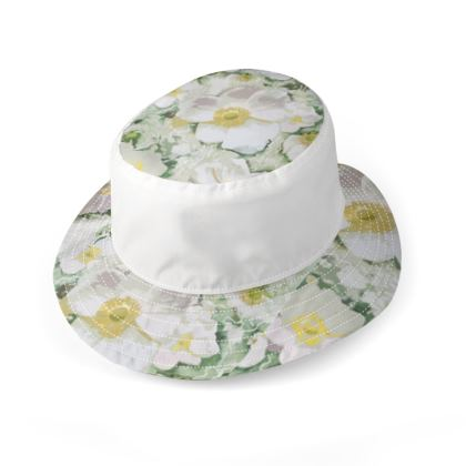 Green White Pink and Yellow floral Large Brim bucket hat
