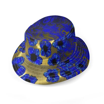 Electric blue and yellow gold floral large brim bucket hat