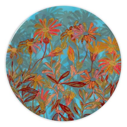 Fantasy Fall Flowers China Plate