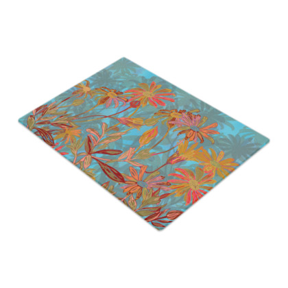 Fantasy Fall Flowers Glass Chopping Board