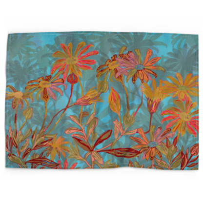 Fantasy Fall Flowers Tea Towel
