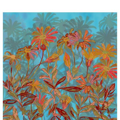 Fantasy Fall Flowers Fabric Placemat