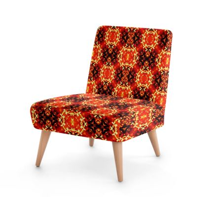 Red Orange black geometric floral  ornament  Occasional Chair