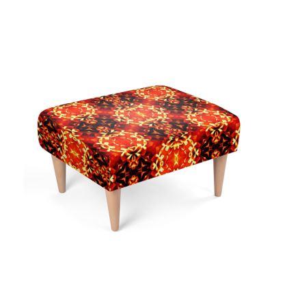 Orange red black geometric ornament retro pattern Footstool