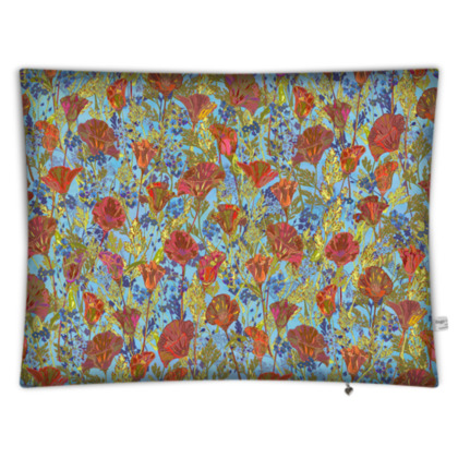 Poppy Pattern (Pale Blue) Rectangular Floor Cushion