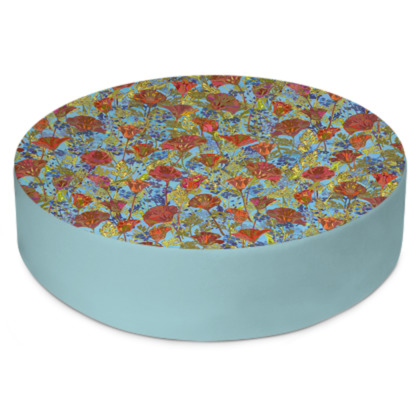 Poppy Pattern (Pale Blue) Round Floor Cushion