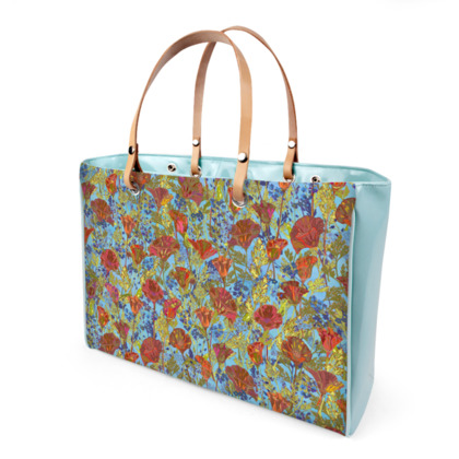 Poppy Pattern (Pale Blue) Handbag