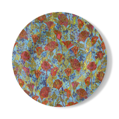Poppy Pattern (Pale Blue) Decorative Plate