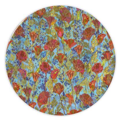 Poppy Pattern (Pale Blue) China Plate