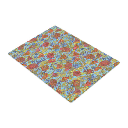 Poppy Pattern (Pale Blue) Glass Chopping Board