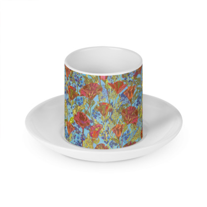 Poppy Pattern (Pale Blue) Cup