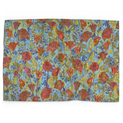 Poppy Pattern (Pale Blue) Tea Towel
