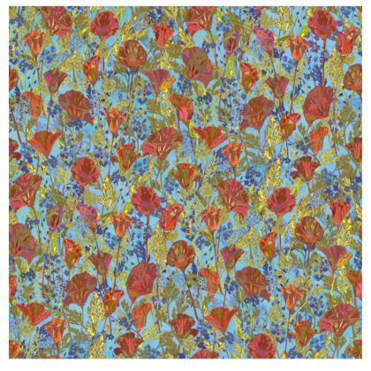 Poppy Pattern (Pale Blue) Fabric Placemat