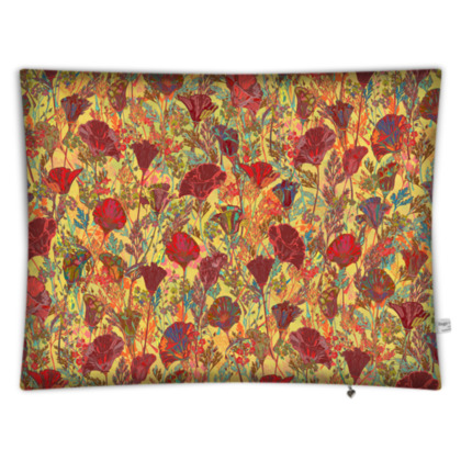 Poppy Pattern (Red/Gold) Rectangular Floor Cushion
