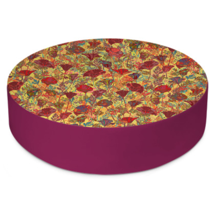 Poppy Pattern (Red/Gold) Round Floor Cushions