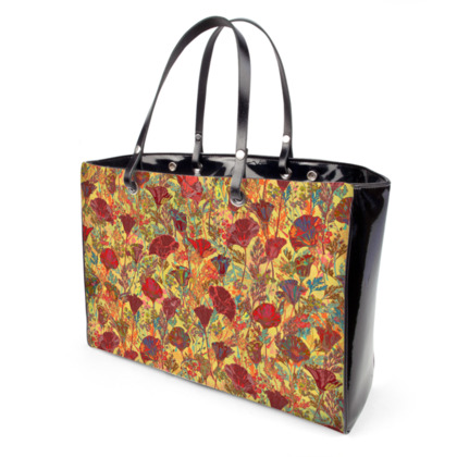 Poppy Pattern (Red/Gold) Handbag