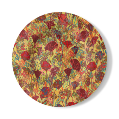 Poppy Pattern (Red/Gold) Decorative Plate