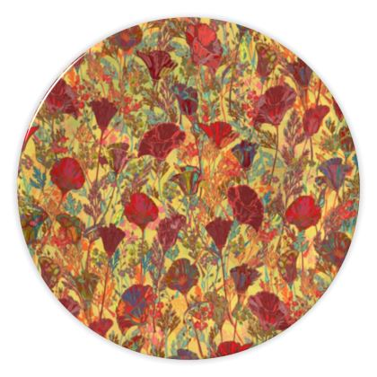 Poppy Pattern (Red/Gold) China Plate