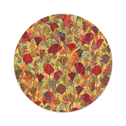 Poppy Pattern (Red/Gold) Serving Platter