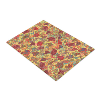 Poppy Pattern (Red/Gold) Glass Chopping Board