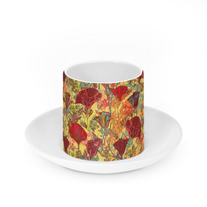Poppy Pattern (Red/Gold) Cup