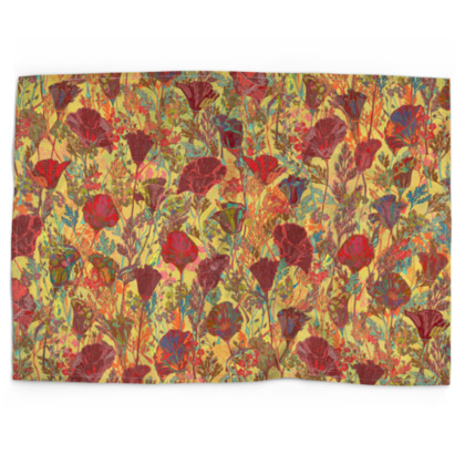Poppy Pattern (Red/Gold) Tea Towel