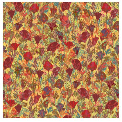 Poppy Pattern (Red/Gold) Fabric Placemat