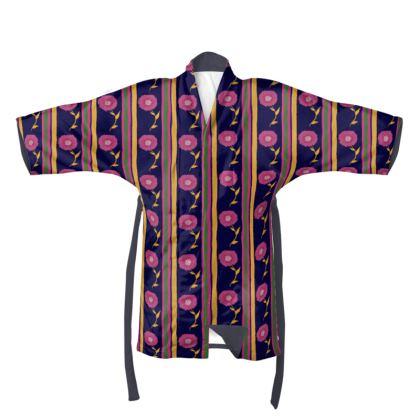 Stripes and pink flower Kimono