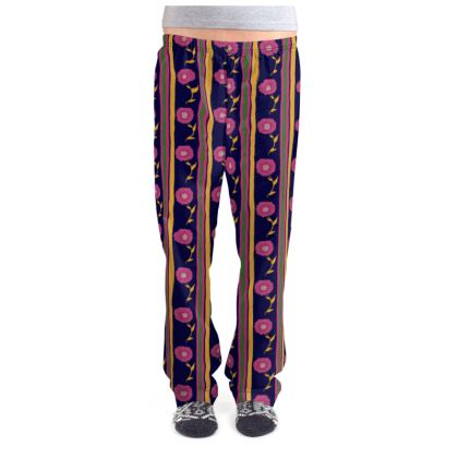 Stripes and pink flower Pajama Bottoms
