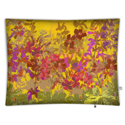 A Day in the Sun (Geraniums) Retangular Floor Cushion