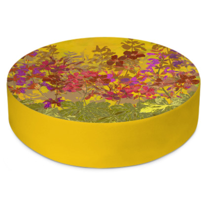 A Day in the Sun (Geraniums) Round Floor Cushion