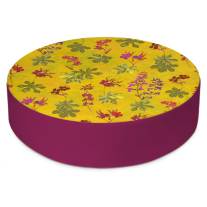 Summer Geranium Pattern Round Floor Cushion